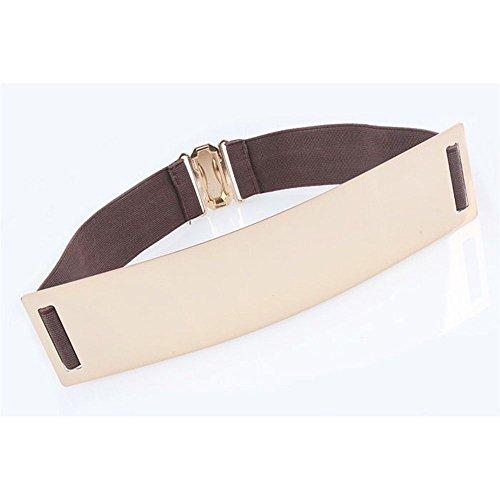 Fashion Mirror design ceinture élastique haute taille en métal doré Brown