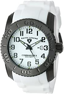 """Swiss Legend Men's 10068-BB-02-SET """"Commander"""" Black Ion-Plated Stainless Steel, White Silicone, and White Dial Watch Set"""