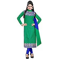 Fabfirki Green and Blue Unstitched Cotton Salwar Suit