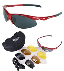 Flitemaster SPORT SUNGLASSES with Interchangeable POLARISED ANTI GLARE AND LOW LIGHT Lenses for Tennis, Cricket, Driving, Running, Sailing etc. UV (UVA / UVB Protection). For Men and Women
