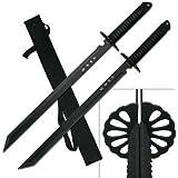 BladesUSA HK-6183 Twin Ninja Swords, Two-Piece Set, Black, 28-Inch Overall
