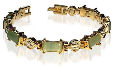 Green Jade Magnetic Link Bracelet 7.5