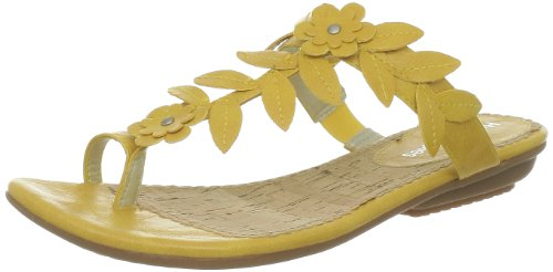 Hush Puppies Women's Corsica Toe Loop Leather Gold Thong Sandals H506207 3 UK