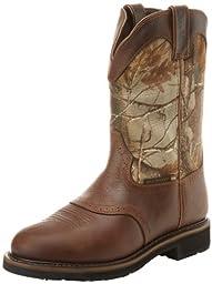 Justin Original Work Boots Men\'s Stampede Camo WaterProof Wk Work Boot,Rugged Tan/Real Tree Camo,10 D US