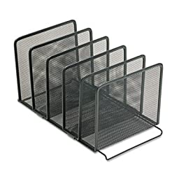 Rolodex Products - Rolodex - Mesh Stacking Sorter, 5 Sections, Metal, 8 1/2w x 14 1/4d x 7 1/2h, Black - Sold As 1 Each - Make the most of your valuable desktop space. - Provides five sections for file folders, books, notepads, binders, and more. - Contem