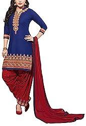 Angel Fashion Studio Women's Cotton Unstitched Dress Material (Blue)