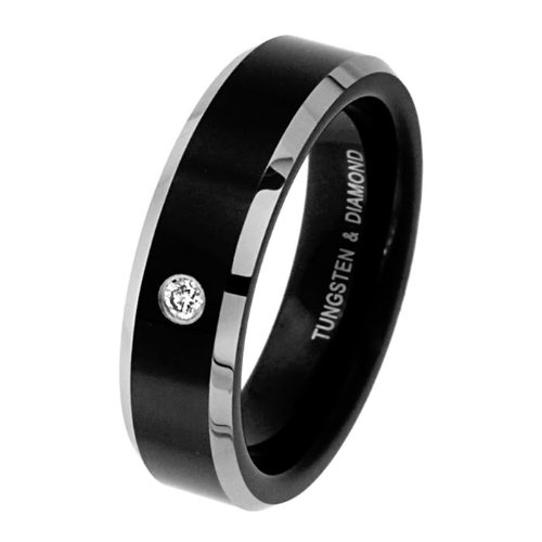 6mm Beveled 2 Two Tone Black Cobalt Free Tungsten Carbide Comfort Fit 1 Stone 0.04 Carat Diamond Wedding Band Ring for Men and Women (Size 5 to 9)