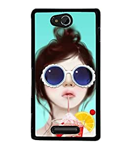Fuson Premium 2D Back Case Cover Cute girl With Black Background Degined For Sony Xperia C
