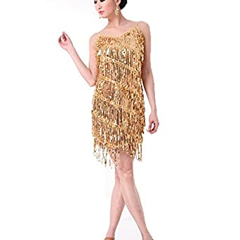 Womens Latin Tassel Strap Dress Sequins Rumba Dance Ballroom Fancy Dress Costume - White