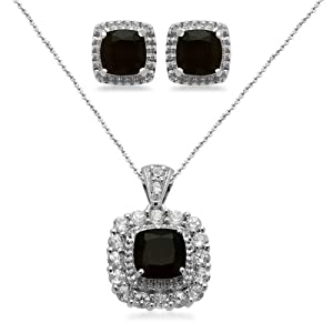 Sterling Silver Cushion Onyx with Created White Sapphire Accents Pendant Necklace and Earrings Diamond Box Set