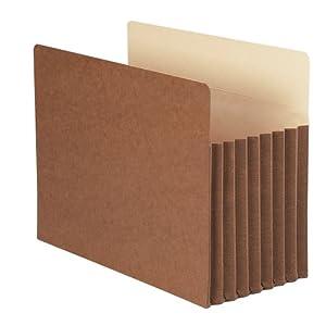 "Smead TUFF® Pocket File Pocket, Straight-Cut Tab, 7"" Expansion, Letter Size, Redrope, 5 per Box (73395)"