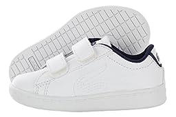 Lacoste Carnaby Evo 116 1 Sneaker (Toddler/Little Kid/Big Kid), White/Navy, 10 M US Toddler
