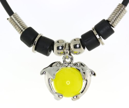 Double Dolphins Holding 12mm Yellow Moon Stone Sphere Cord Necklace