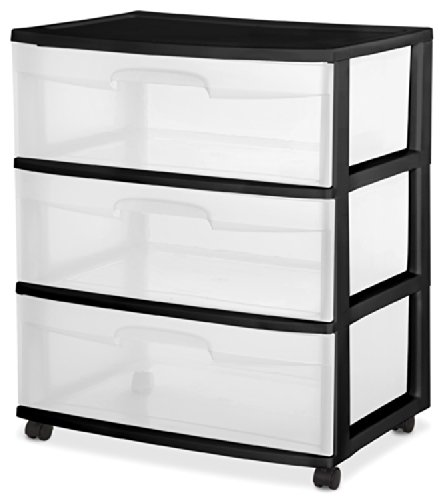 Sterilite 29309001 Wide 3 Drawer Cart, Black Frame with Clear Drawers and Black Casters, 1-Pack (Clothing Storage Drawers compare prices)