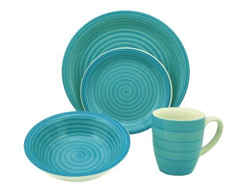 Lorren Home Trends 16-Piece Stoneware Dinnerware Set, Blue