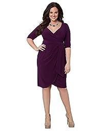 Kiyonna Women\'s Plus Size Harlow Faux Wrap Dress 1x Eggplant