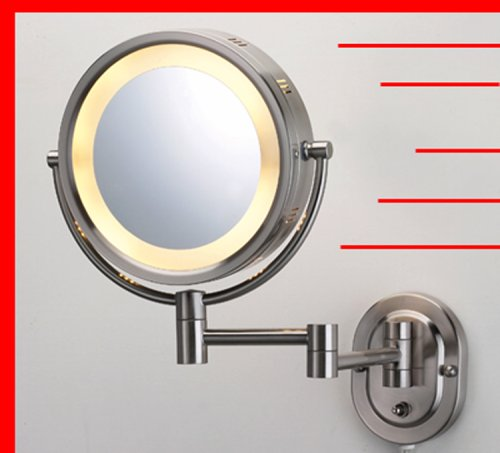 Lighted 5X Make Up Mirror In Satin Nickel Finish For Makeup front-63691