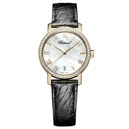 Chopard Women's Classic 33.5mm Black Leather Band Steel Case Automatic MOP Dial Analog Watch 134200-5001