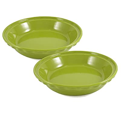 Chantal Lime Green Ceramic 9.5 Inch Deep Pie Dish, Set of 2