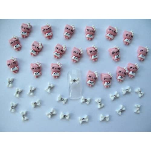 Nail Art 3d 40 Pieces Dark Pink/White Kitty & Bow for Nails, Cellphone*1.4cm