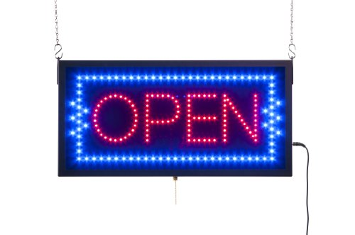 Displays2Go Rectangular Animated Led Sign Reads Open Bulbs, Neon Blue And Red (Ledopen10)