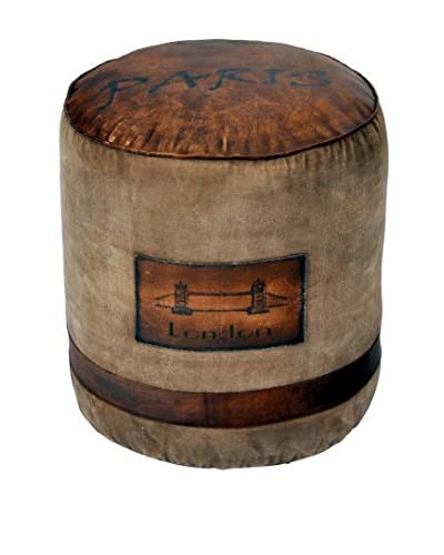 Decorative Leather Books Jetsetter Pouf, Tan/Brown