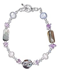 Sterling Silver 8 inch Abalone, Crystal, Pearl and Shell Chips Toggle Bracelet
