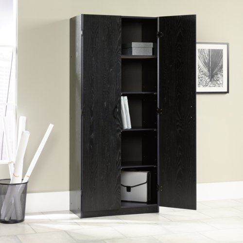 Freestanding Storage Cabinet Pantry Ebony Ash Finish Compare Prices Niederros