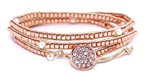Heirloom Finds Rose Gold Bead Freshwater Pearl and Cord Wrap Bracelet with Crystal Pave Button