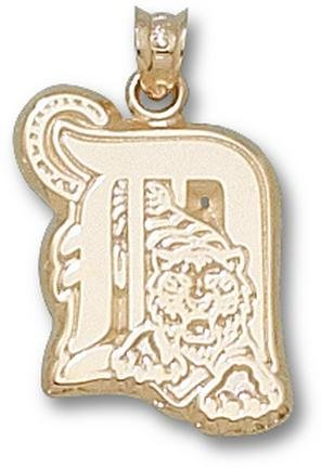 Detroit Tigers D with Tiger 9 16 Pendant - 14KT Gold Jewelry by Logo Art