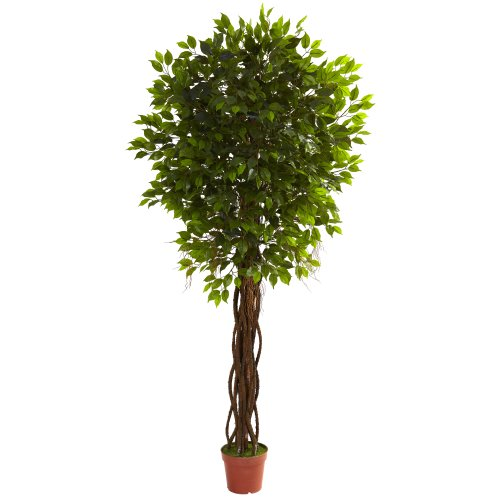 Nearly Natural 5379 Ficus UV Resistant Tree, 7.5-Feet, Green