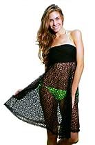Ingear Crochet Mesh Multi Wear Dres / Skirt Cover Up (Small, Black)