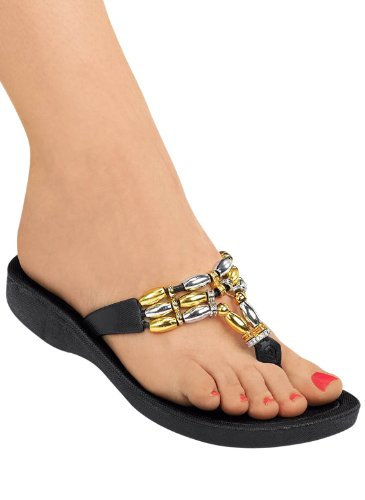 Joy Beaded Thong Sandals, Color Metallic, Size 08 front-963474