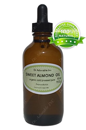 Sweet Almond Oil For Skin Hair And Health 4 Oz Amber Glass Bottle With Glass Dropper front-889061