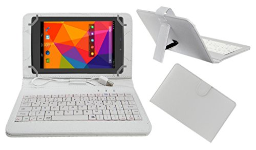 ACM PREMIUM USB KEYBOARD TABLET CASE HOLDER COVER FOR MICROMAX CANVAS TAB P480 With Free MICRO USB OTG - WHITE