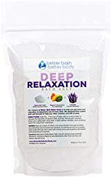 Deep Relaxation Bath Salt 1 Pound - Epsom Salt With Lavender Essential Oils & Vitamin C - All Natural Ingredients No Perfumes & Dyes - Relieve Tension & Stress Naturally
