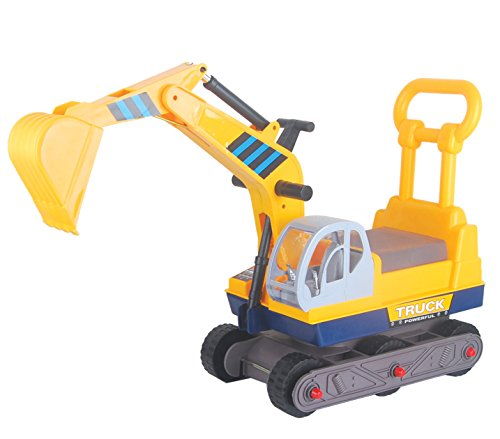 Vroom Rider 6-Wheel Excavator On Wheels Ride-On With Back, Yellow