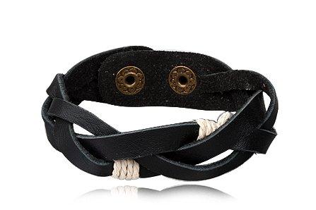 Fashion Black Leather Wrap Cuff Rasta Plait Bracelet Men's Jewelry