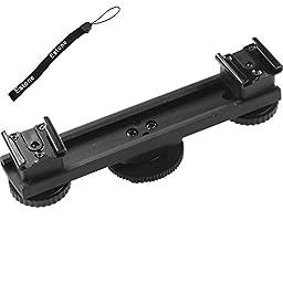 Estone Hot Shoe Extension Bar Mount Dual Bracket For DV Video Camera LED Light SLR Rig