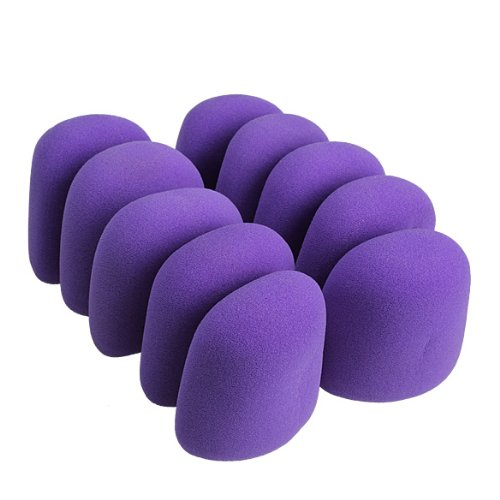 Vktech Good Quality Foam 10Pcs Microphone Grill Foam Cover ~Audio Mic Shield Sponge Cap Holder~Best Cloths For Your Microphone~7 Clours For Choice ~Thickness 6Mm (Purple)