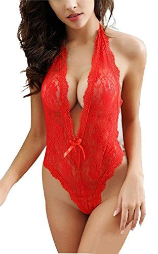 SeClovers Women's Sexy Deep V Halter Lingerie Lace Tight Babydoll Sleepwear (red ) (Plus Size Hot Lingerie compare prices)