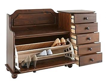 sitzbank aus kiefernholz schuhbank mit 1 klappe und 5 schubf chern kolonial us33. Black Bedroom Furniture Sets. Home Design Ideas