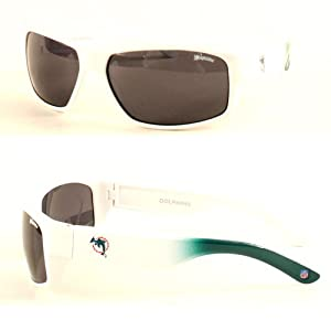 NFL Officially Licensed Miami Dolphins Chollo Rectangle Sunglasses, White Frame Grey... by NFL