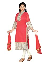 Charu Boutique Women's Cotton Silk Straight Stitched Churidar Suit (Red White)