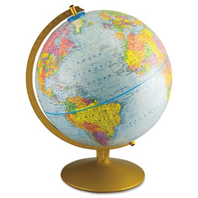 Advantus 30501  12Inch Globe with Blue Oceans, GoldToned Metal Desktop Base Picture