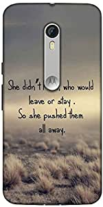 Snoogg Shed Pushed Away Quotes Designer Protective Back Case Cover For Motorola Moto X Style