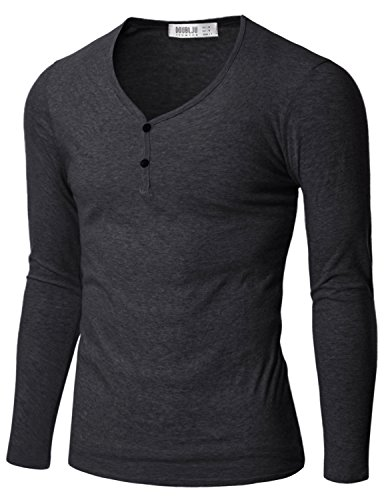Doublju Men Casual Button Point 3/4 Sleeve T-Shirt Charcoal X-Large