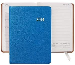 "2014 Notebook Planner 7"" Brights-BLUE Fine Leather by Graphic Image – 5×7"