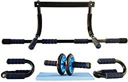 Doorway Pull up Bar Push up Bars and Ab Wheel Home Exercise Equipment for Men Women and Young Adults Build Power Strength and Sex Appeal with FBD 101\'s Upper Body Blaster \