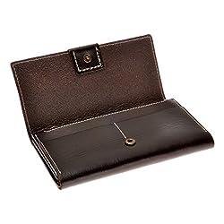ZLYC Unisex Minimalist Fashion Handmade Luxurious Leather Bifold Clutch Wallet, Brown